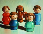 "Holiday Sale! Custom Family Toy Portrait 8""x10"" acrylic on canvas"