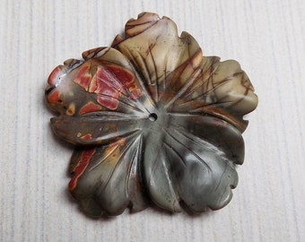 Carved Picasso Jasper Flower pendant