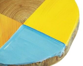 Modern geometric art, Paintings on Wood, Yellow Art, Blue Art, Rustic Home Design, Christmas Gift, Stocking Stuffer, Modern art, T5