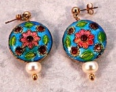 Beautiful Cloisonne and Pearl Earrings, Cloisonne Earrings, White Pearl Earrings, Enamel Earrings, Multicolor Earrings, Gold Stud Earrings