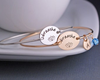 Breathe Bangle Bracelet, Yoga Jewelry, Just Breathe Jewelry,  Lotus Jewelry Gift, Yoga Teacher Gift, Yoga Lover Gift