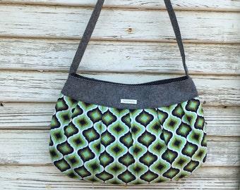 Purse-Shoulder Bag-handbag-black linen aqua green black  gray cotton