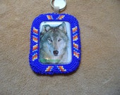 Native American Style Rosette stitched Wolf Key chain in Cobalt Blue