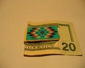 "Native American Style loom beaded ""Mitakuye Oyasin"" Money Clip in Turquoise Green"