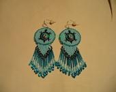 Native American Style Rosette beaded Turtle earrings in Blue