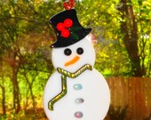Fused Glass Snowman Ornament, Holiday Ornament, Christmas Glass, Package Tie, Snowman Ornament, Christmas Suncatcher, Winter Decoration