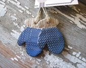Winter Mitten Christmas Ornament - Handmade Pottery - IN STOCK - Sweater - Knit - Holidays - Ceramic - Gift Tag - Blue Christmas