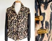 sale deadstock vintage silk jacket / anorak / vintage 90s leopard print / black browns / drawstring waist / oversized slouchy