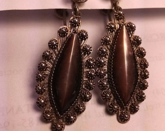 SALE TODAY Old Vintage Long Tehuana Style Fine Silver Filigree Dark Shell Earrings Mexican Mexico Screwbacks