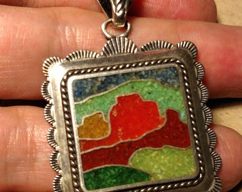 Estate Carolyn Pollack Relios 925 Sterling Silver Mosaic Stone Inlay Square Large Pendant Southwestern Tribal Boho