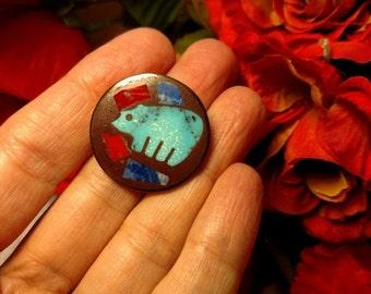 Flash Sale Elegant Vintage Tribal Art Brooch Pin Blue Red Bear Animal Jewelry