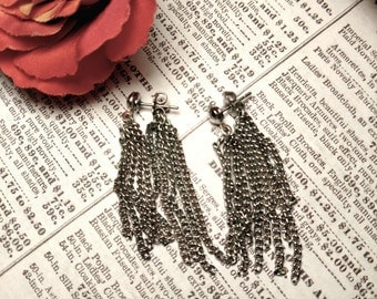 1960s Vintage Long Chandelier Earrings Silver Chain Tassel Jacket Earrings Pierced Mod