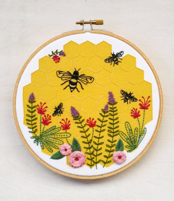 Bee lovely embroidery kit gift and honeycomb