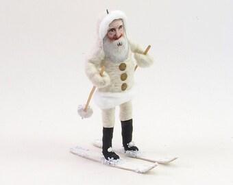 Vintage Inspired Spun Cotton White Skiing Santa Ornament/Figure