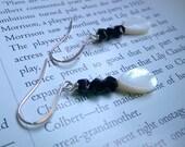 silver earrings - black crystal earrings with white shells - beaded earrings - vintage crystal earrings - simple black and white earrings