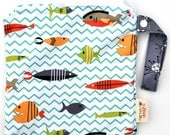 Small 9 x 9 Wet bag / Snack / Swim / Diapers / Somethings Fishy Fabric  / SEALED SEAMS and Snap Strap