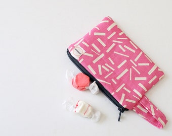 Pink Confetti credit card, gift card  zipper pouch. coin purse. Ready To Ship, padded minimalist wristlet wallet back to school, gray zipper
