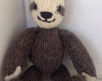 Handknit Stuffed Animal - Sloth -  Plush Natural Toy - Woodland Friend Waldorf Toy