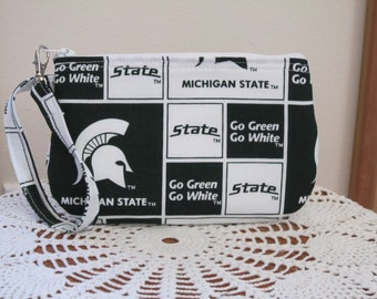 Clutch Zipper  Michigan State Spartans Gadget Pouch Wristlet Smart Phone Bag Collage Football