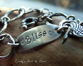Personalized Charm Bracelet Handmade Chain Hand Stamped Custom Silver