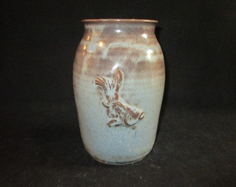 large vase or utensil holder in blue and brown, stoneware pottery