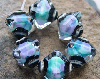 Majic Moods - Set of 6 Crystal Bicone Beads - SRA Glass Lampwork