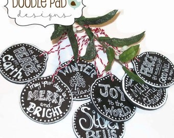 Wooden Chalkboard Ornaments - set of 7