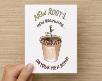 New Roots New Beginning New Home Congratulations Recycled Paper Folded Greeting Card