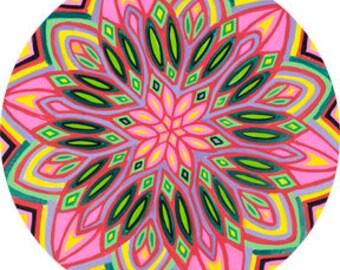 Cosmic Circle, Flower Power, Mandala, Glass decor, Sun catcher, Groovy, Hippie, Non-adhesive sticker, Wholesale, Window Cling, EcoFriendly