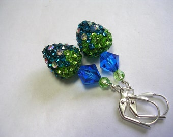 Strawberry Earrings Swarovski Crysal and Rhinestone Pave Silver Teal Green Crystal Peridot  Leverback Hooks Wire Wrapped Fruit Earrings