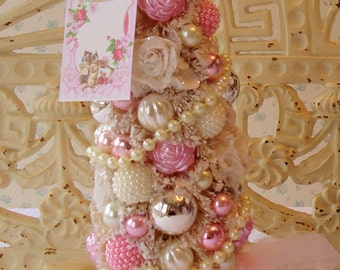 Bottle Brush Tree - Shabby Pink ROSES, Mercury Glass Hearts, Pink Tulle