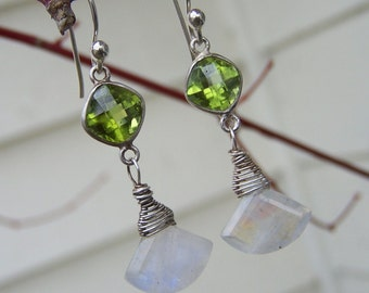 Rainbow moons stone kite briolette, Peridot connector, sterling silver French earwire  earrings