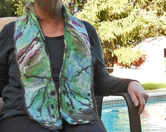 Multi colored butterfly wing felted wool scarf or wrap, woolen wet felted collectible handmade scarf, winter clothing, designer accessories
