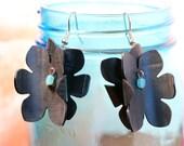 Lightweight earrings, statement earrings, turquoise flowers, inner tubes, gift for bicyclist, black earrings, floral earrings #316