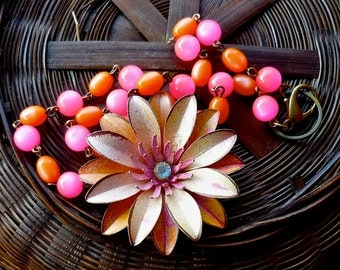 Mixed  Pink and Peachy pink Hand Painted Flower on beaded rosary chain by wendy baker