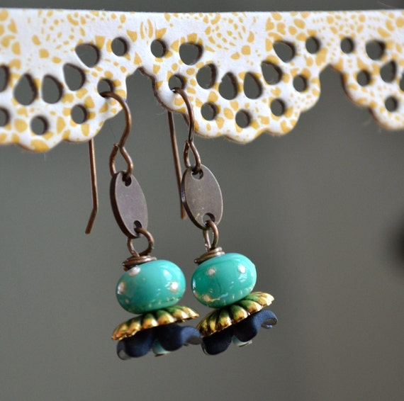 Lamp work and Resin Flower Earrings with Brass Findings