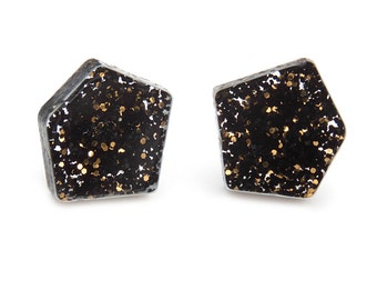 Black and Gold Glitter Laser Cut Nugget Stud Earrings