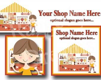 Premade Etsy Cover Photo - Large Etsy Banner - Etsy Shop Banner - SHOP ICON - Shop Profile - LIttle Girl Orange Craft Booth
