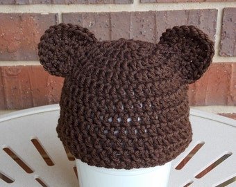 brown bear beanie hat with ears for newborn baby infant toddler boy or girl crochet  cap