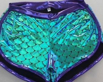 Aqua/Purple Iridescent Fishscales Sassmaster roller derby shorts