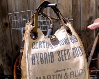 Certified Iowa 919 Seed Corn - Wapato Iowa  - Open Tote - Americana OOAK Canvas & Leather Tote W- vtg fabric... Selina Vaughan Studios