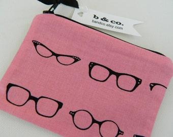 Lunch Money Purse in Nerd Glasses- Pink