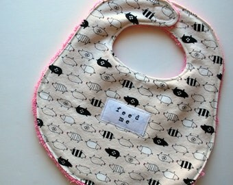 Chow Bebe Bib--pig print with pink upcycled lining
