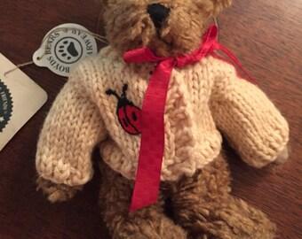 6 inch Boyd's bear with ladybug sweater, Darby Beariburg