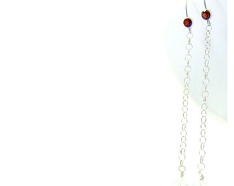 Long Red Garnet Christian Earrings - Sterling Silver Chain, Sparkling IceFlake Quartz Crystals - SCARLET Collections