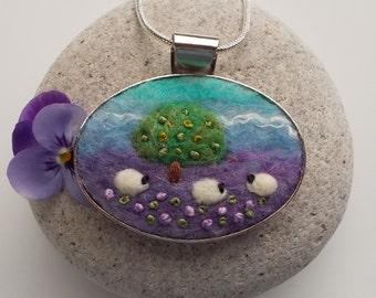 Sheep Pendant Necklace Handmade Felt Jewelry Apple Tree