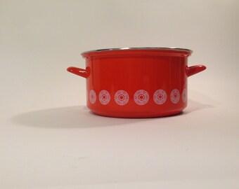 Enamelware Pot ~ Large Red Enamelware Pot ~ Red Pot ~ Red Pot White Inside ~ White Circle Pattern Red Enamelware ~ Handled Enamelware Pot