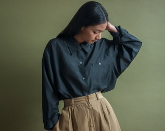 black silk oversized blouse / silk top / black silk button down / s / m / l / 1593t