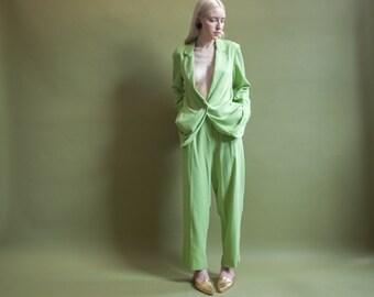 granny smith green pantsuit / COLORBLOCK pantsuit / vintage 80s suit set / m / 718o / B5