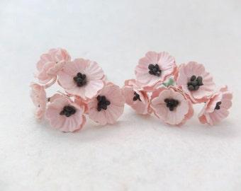 10 Mulberry poppy - light peachy pink - 2 cm paper flowers